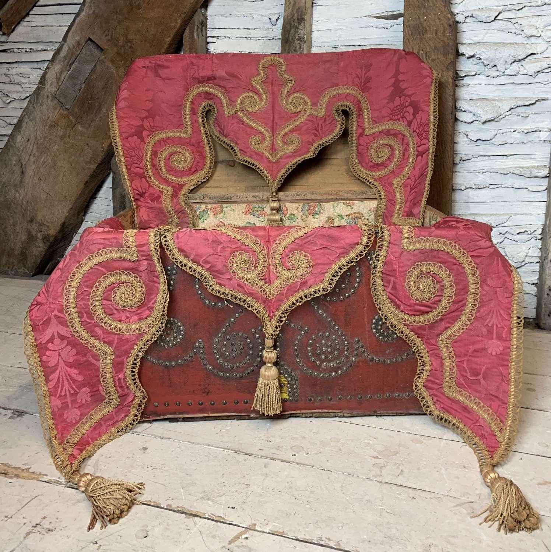 Pair of Victorian Red Silk Damask & Bullion Thread Pelmets