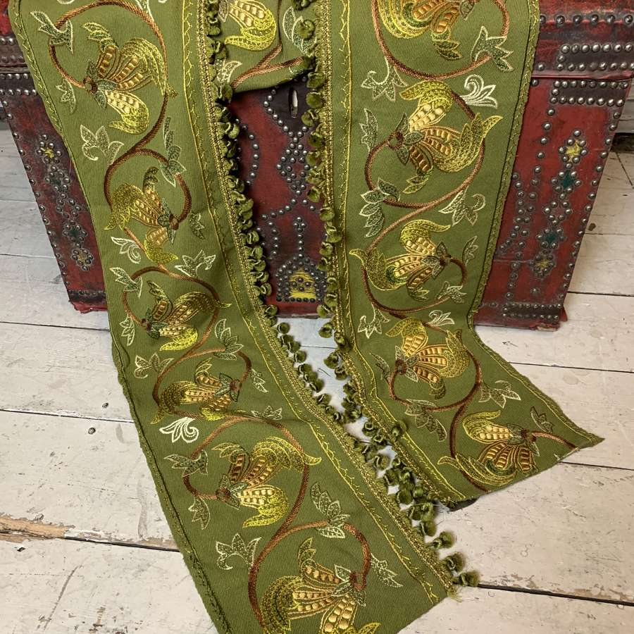 A Victorian Hand Embroidered Pelmet, 4m long