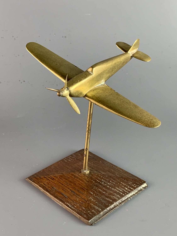 World War II Trench Art Brass Spitfire