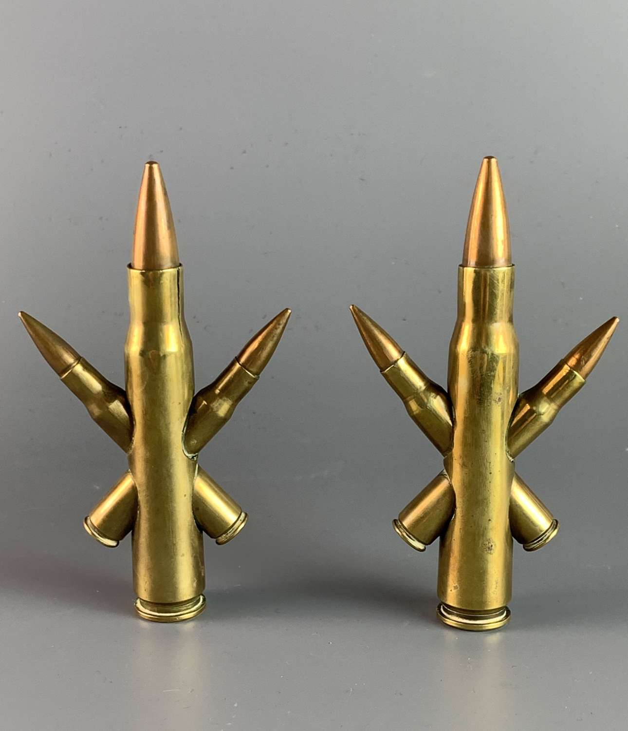 Pair of WWII Trench Art Brass Cartridge Ornaments