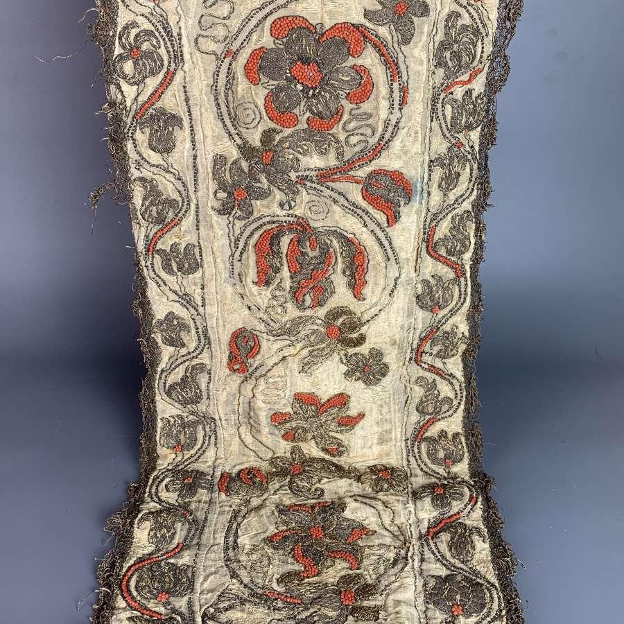 Charles II Embroidered Bullion Thread & Coral Beaded Panel