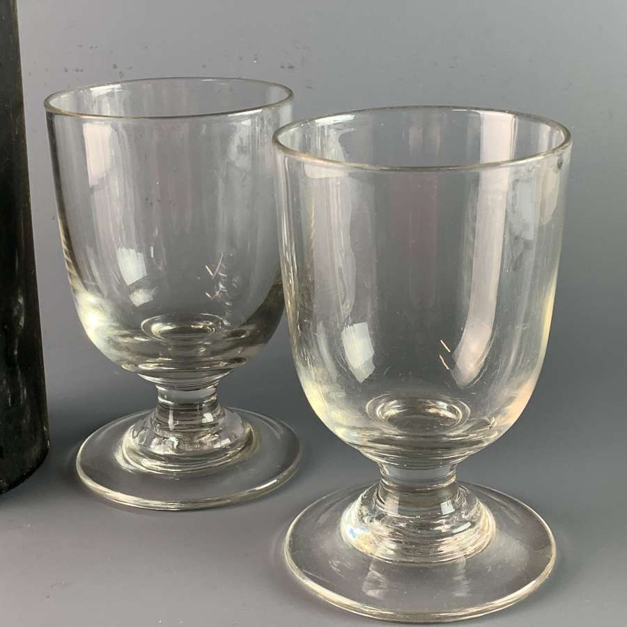 Pair of Early Victorian Rummers Wine Glasses