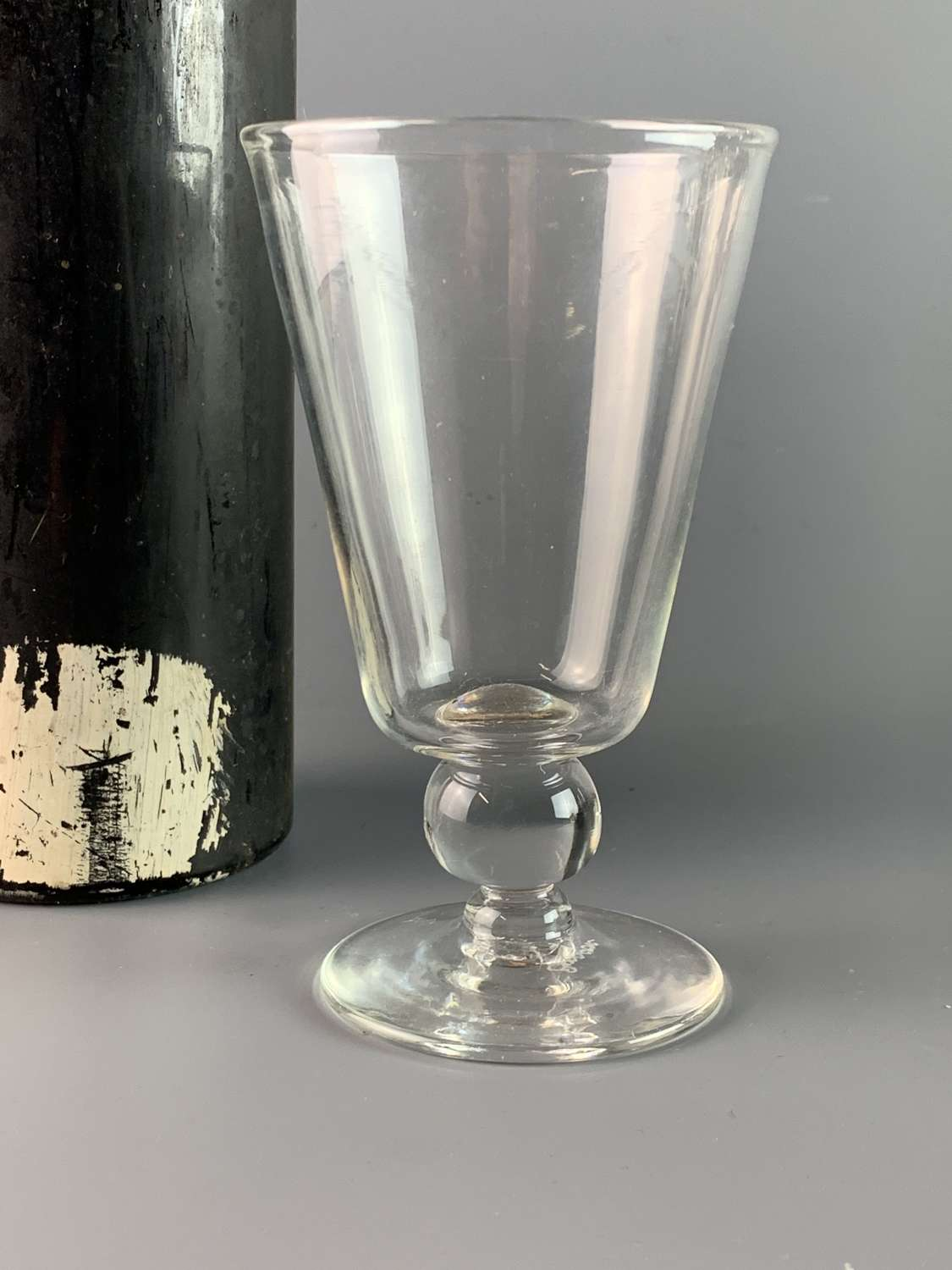 Early 19th Century Wine Glass with Ball Knop Stem