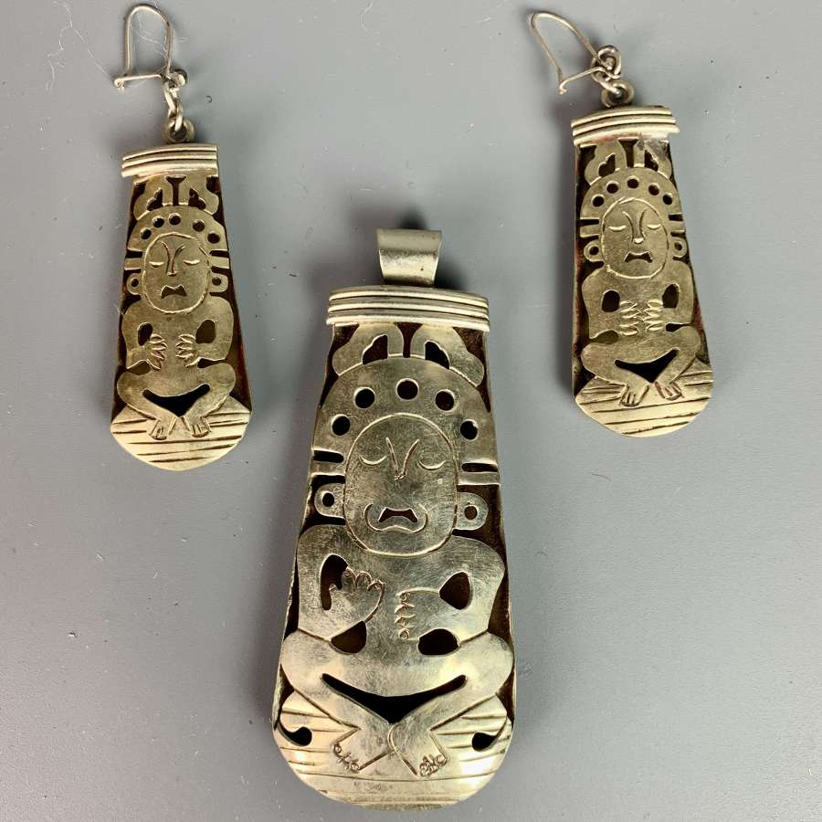 Vintage Mexican Silver Pendant & Earrings