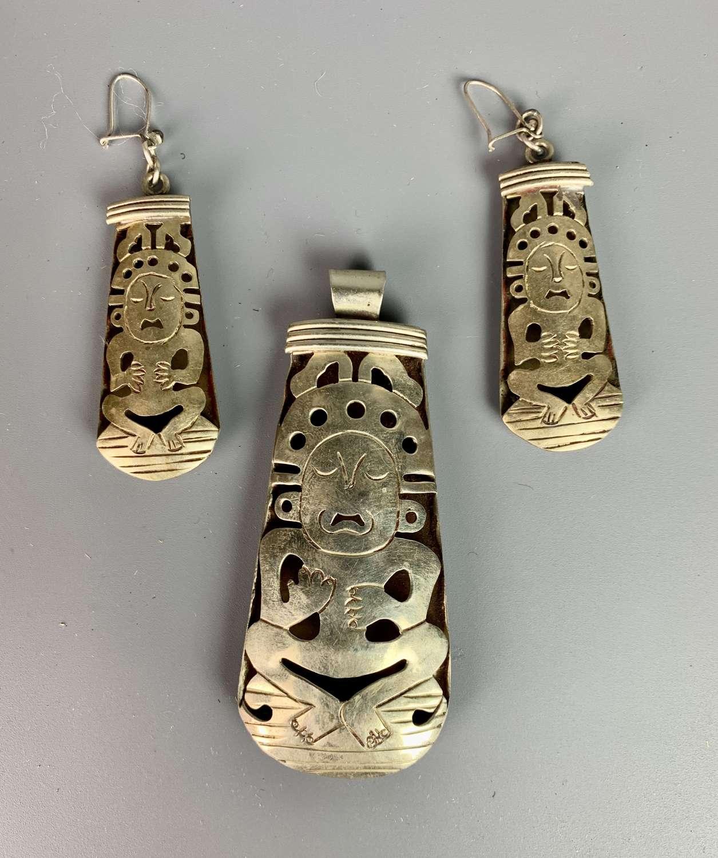 Vintage Mexican Silver Pendant & Earrings