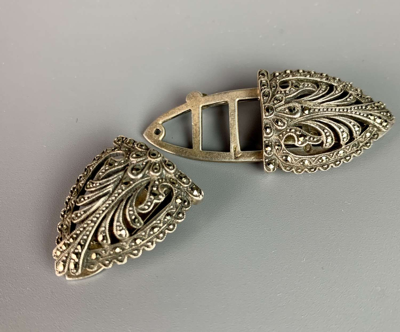 Art Deco Silver & Marcasite Duette Clip / Brooch