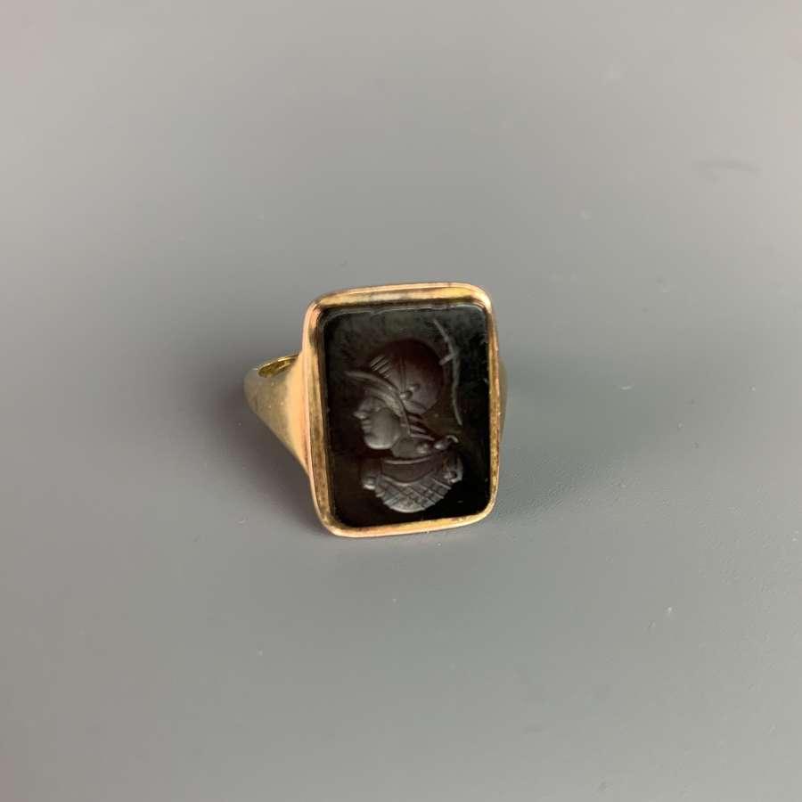 Antique Amethyst Intaglio 9ct Ladies Ring