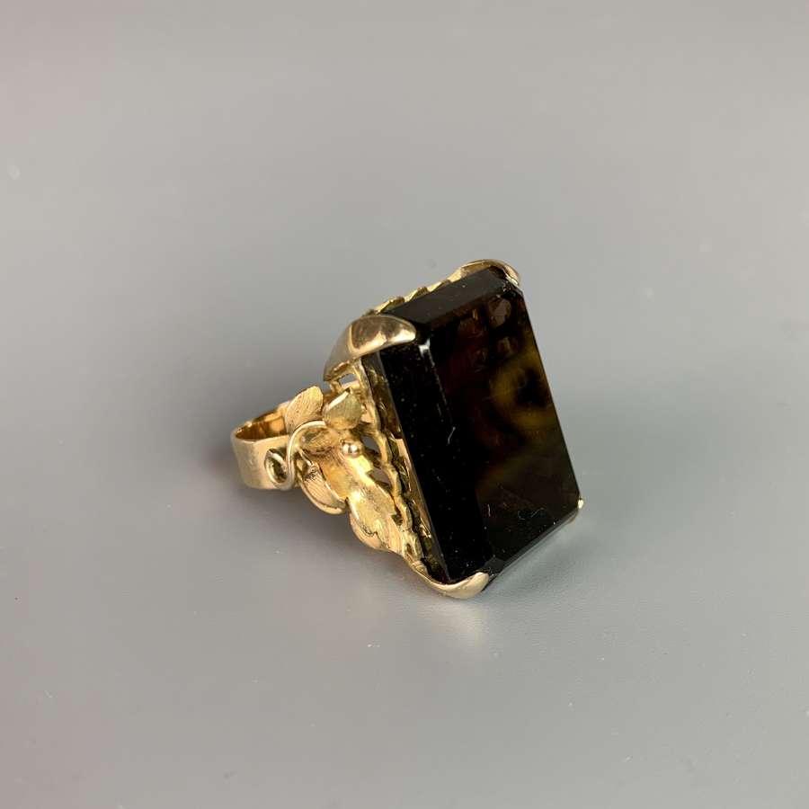 Chunky 1970's Smokey Quartz Yellow Metal Ring
