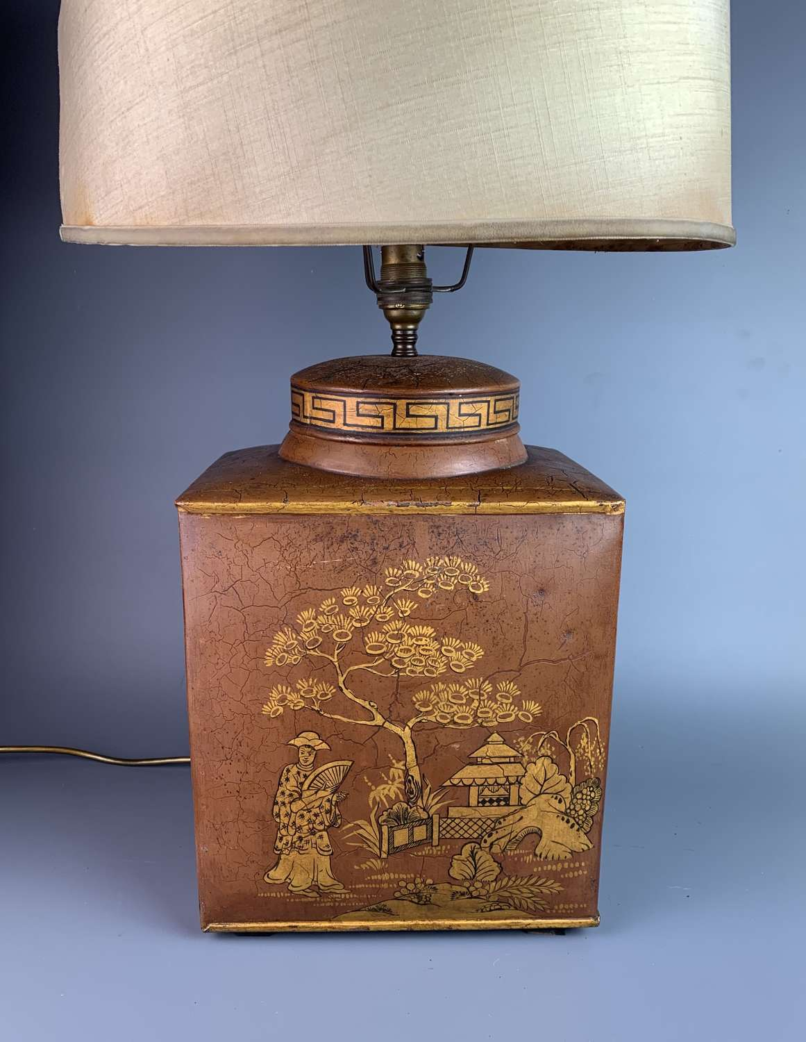 Vintage Toleware Chinoiserie Tea Canister Lamp