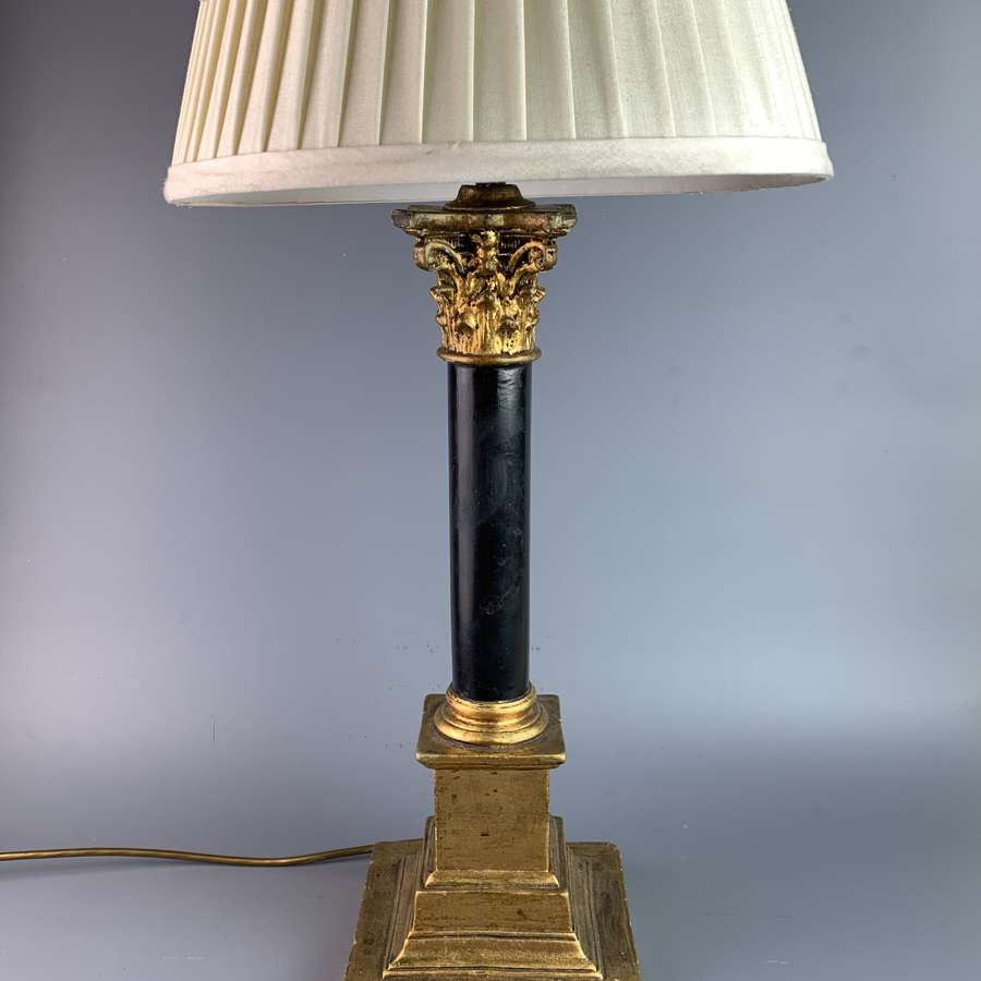 Black & Gilt Corinthian Column Table Lamp