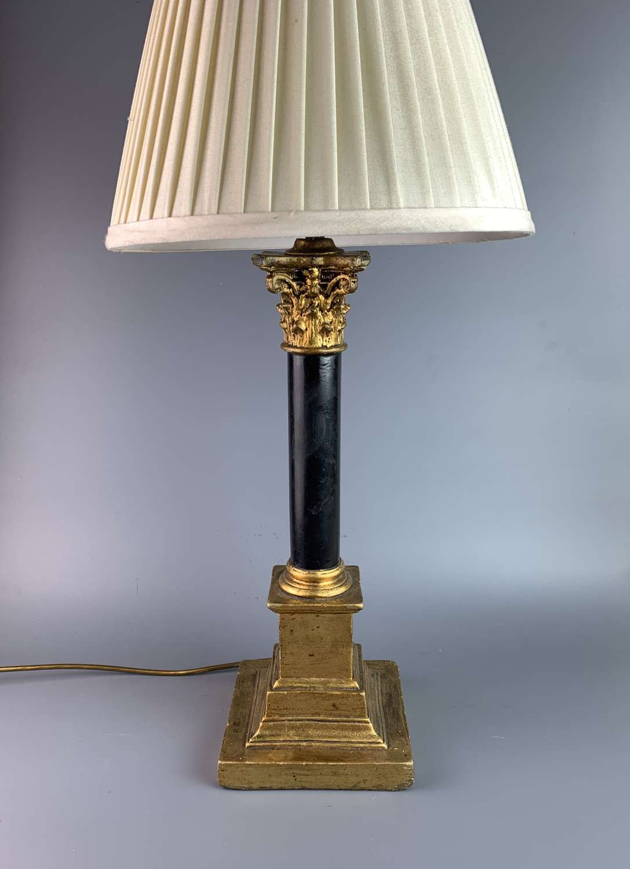 Black & Gilt Corinthian Column Table Lamp