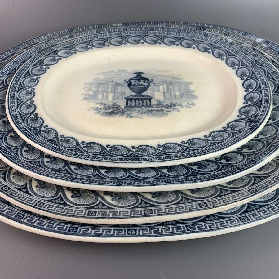 Graduated set of Four Blue & White Serving Plates