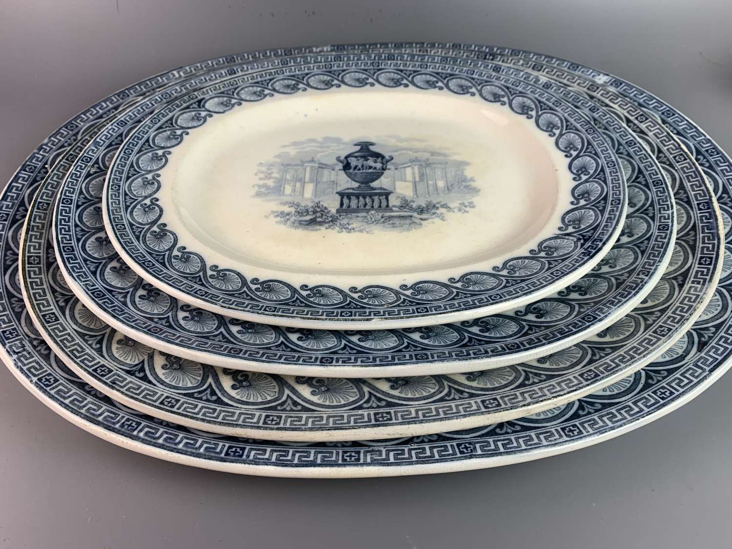 Graduated set of Four Blue & White Serving Plates