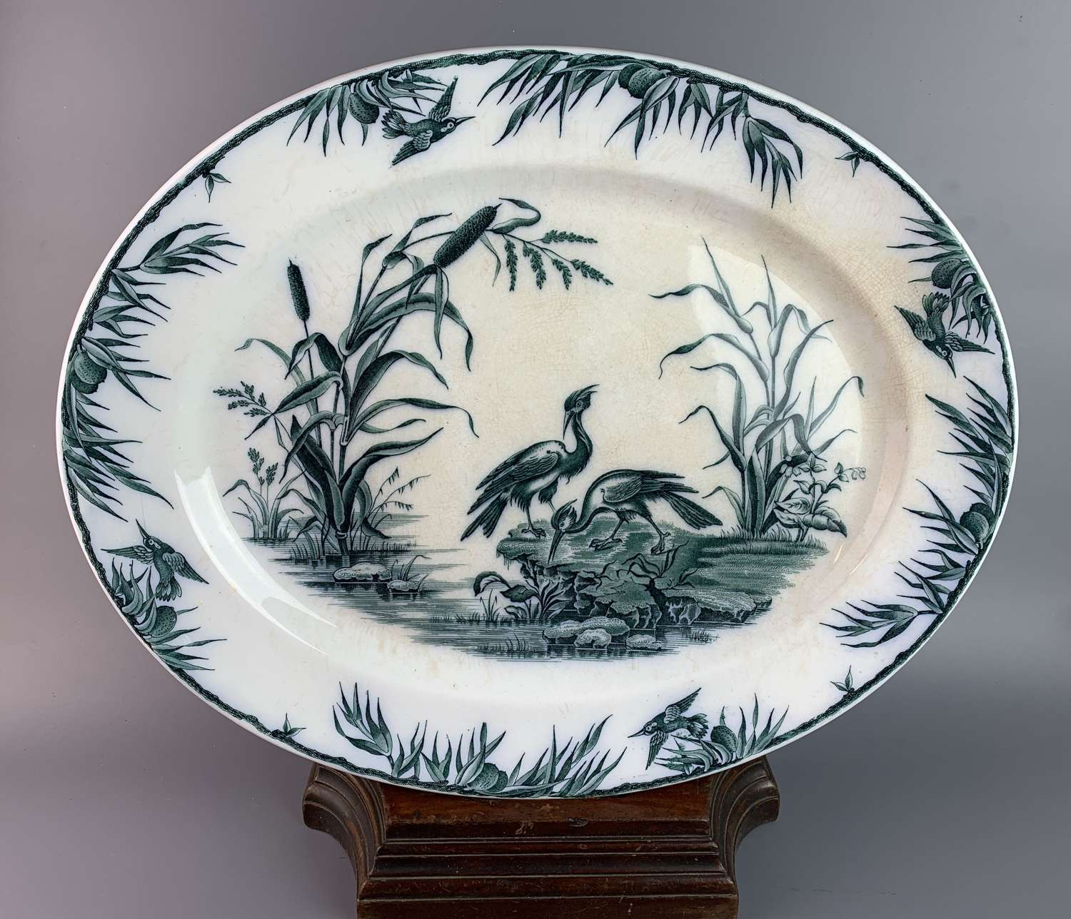Antique French Blue & White Meat / Serving Plate