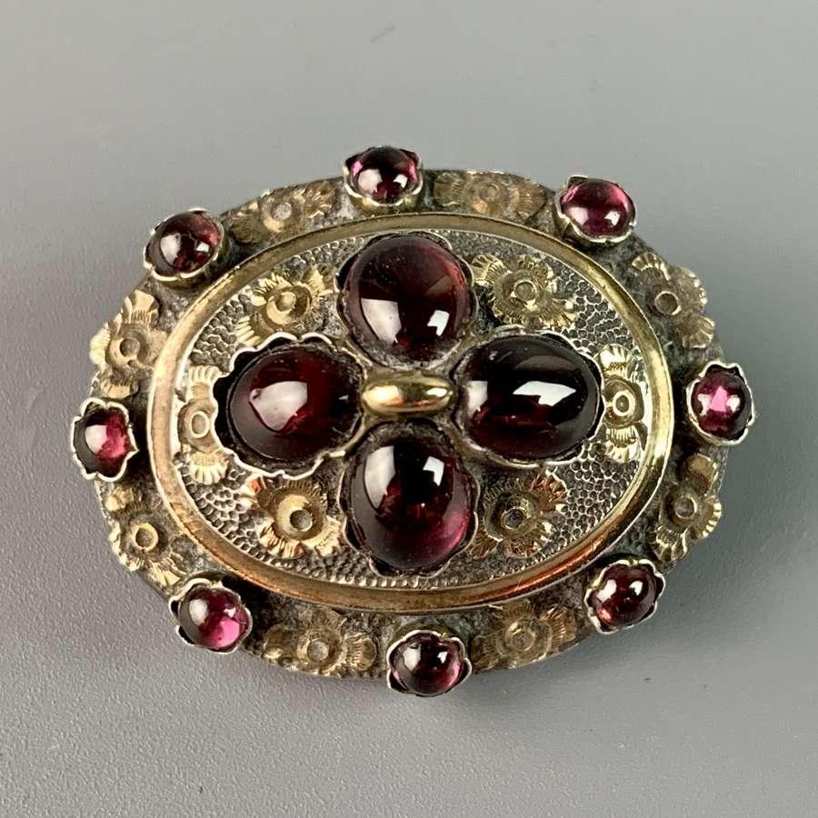 Victorian Garnet Set Brooch