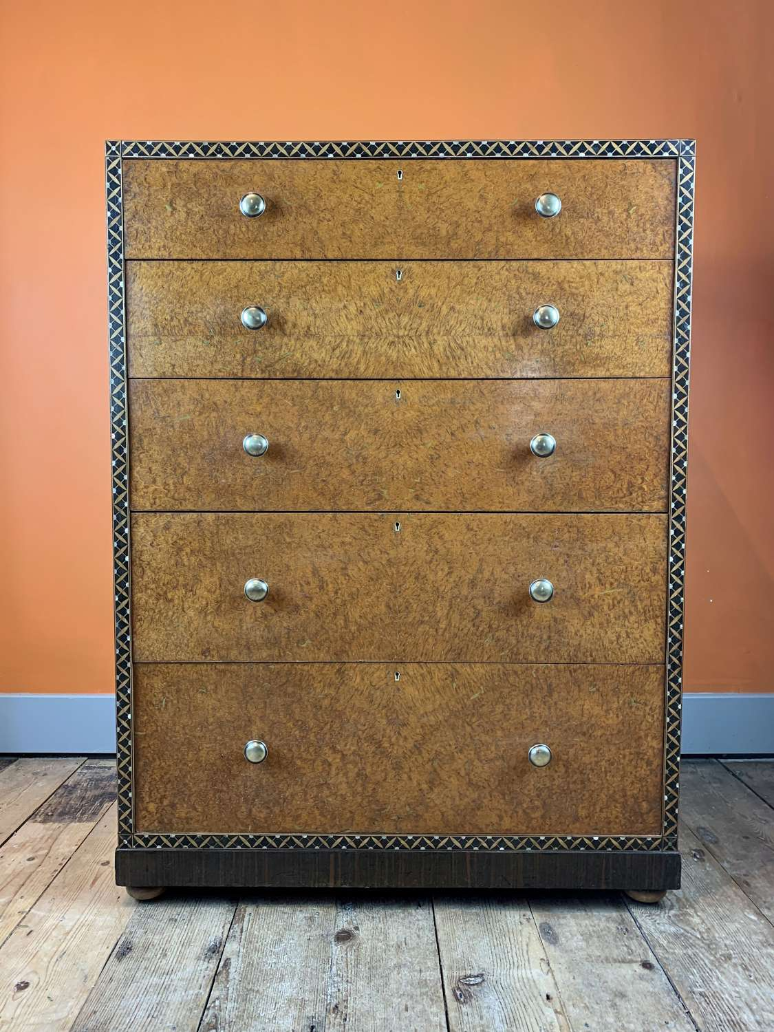 Bath Cabinet Makers Inlaid Amboyna Chest of Drawers