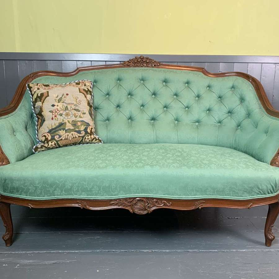 Antique French Button Back Two Seat Sofa in Louis XV Style