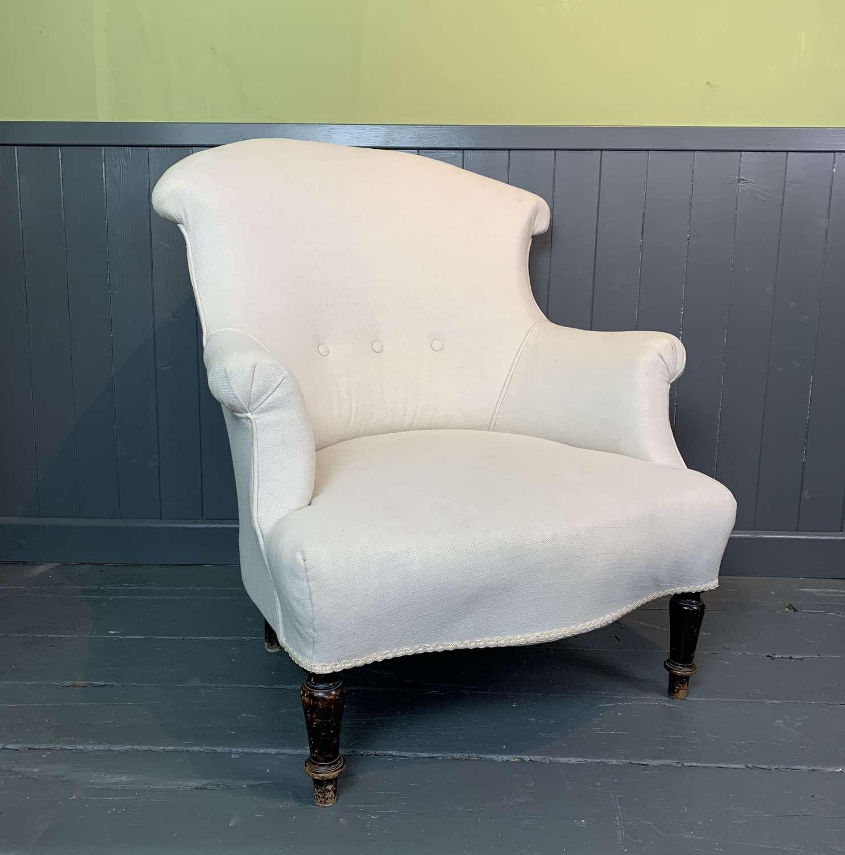 French Napoleon III Armchair in Cream Linen