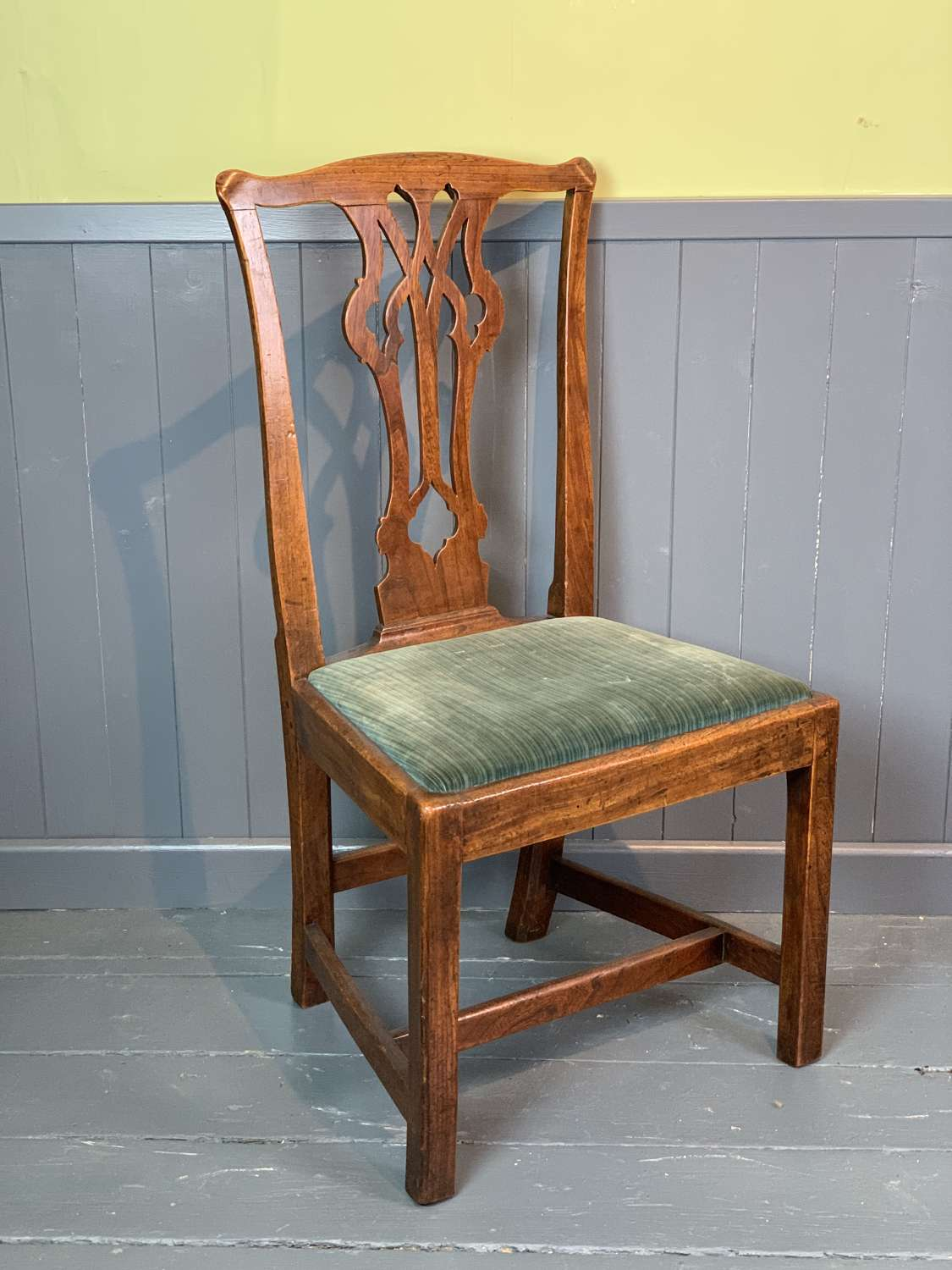 Georgian Oak Country Chair of Chippendale Design