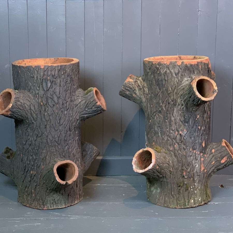 Pair of Terracotta 'Faux Bois' Strawberry Planters