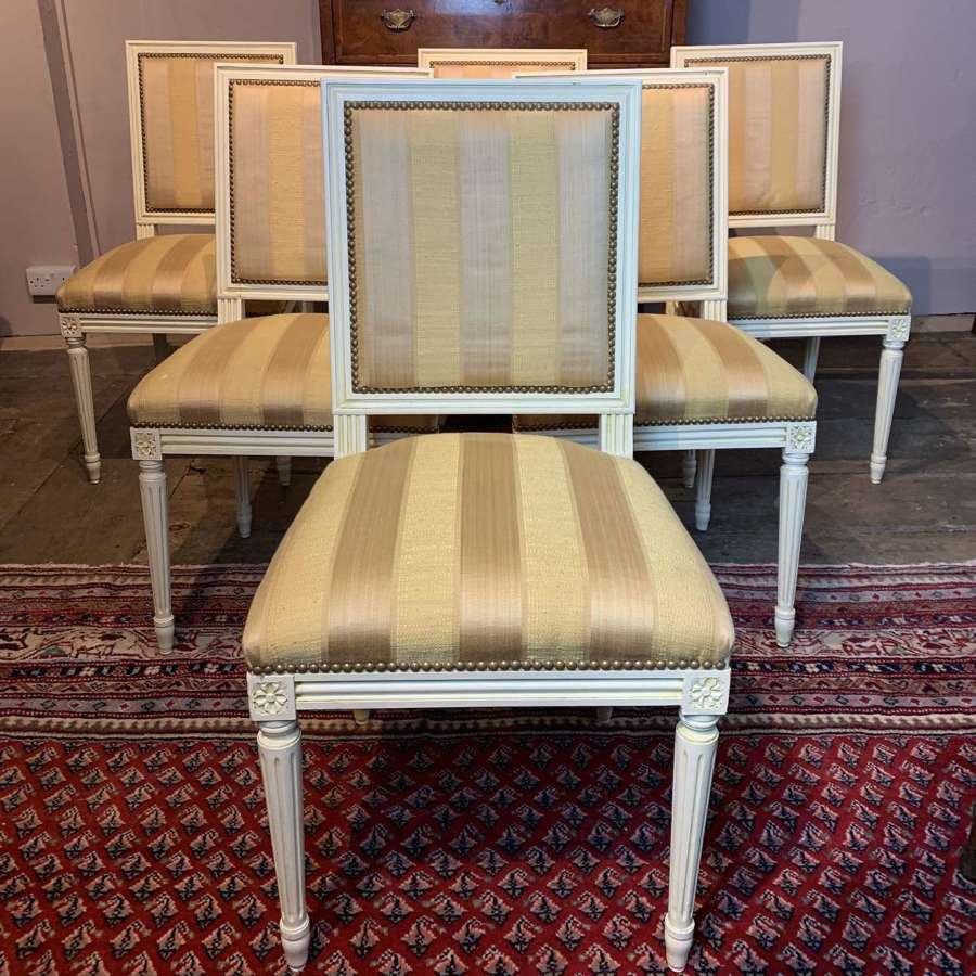 Set of Six French Painted Dining Chairs in Louis XVI Style