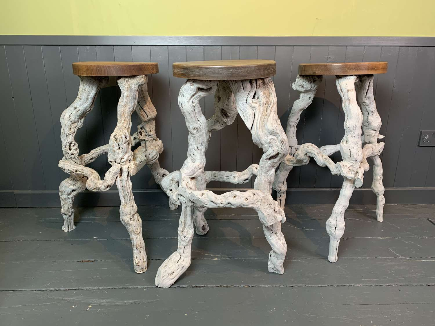 Vintage French Grape Vine Stools / Stands