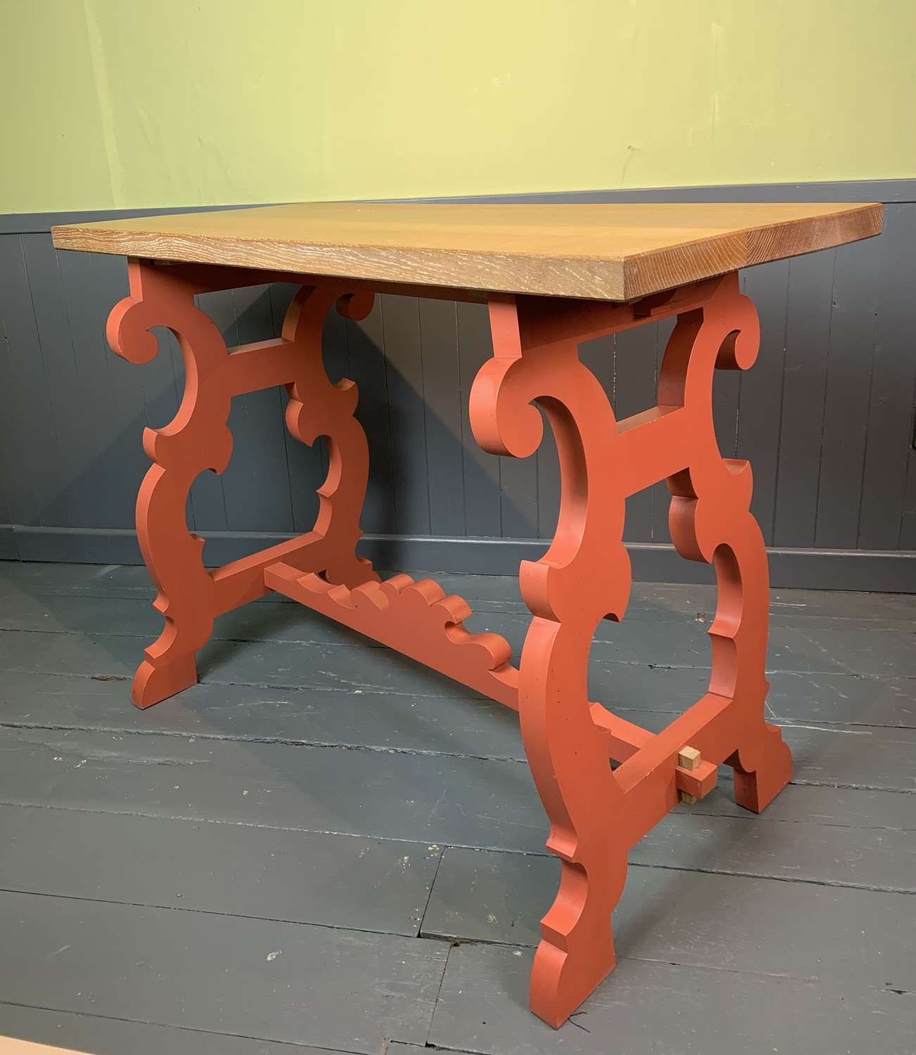 Spanish Style Limed Oak & Painted Console / Centre Table