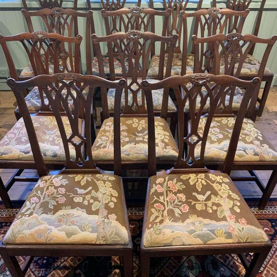 Twelve George III Mahogany Dining Chairs with Needlework Seats