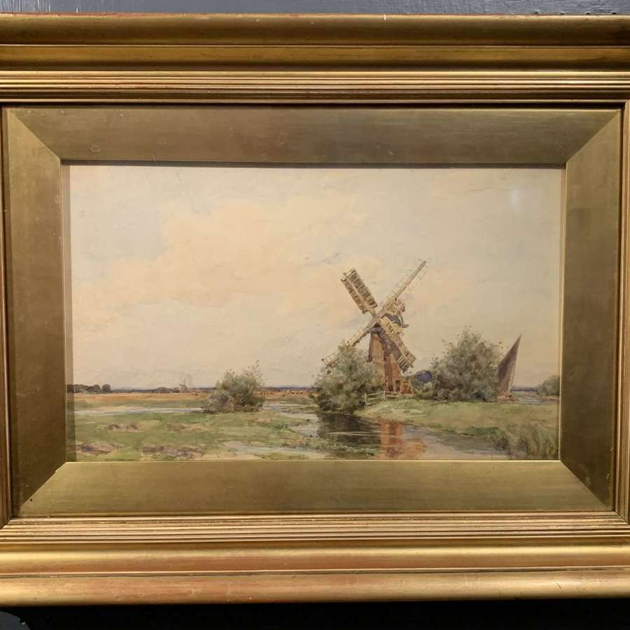 Wilfrid Williams Ball, Riverscape with Windmill & Cattle
