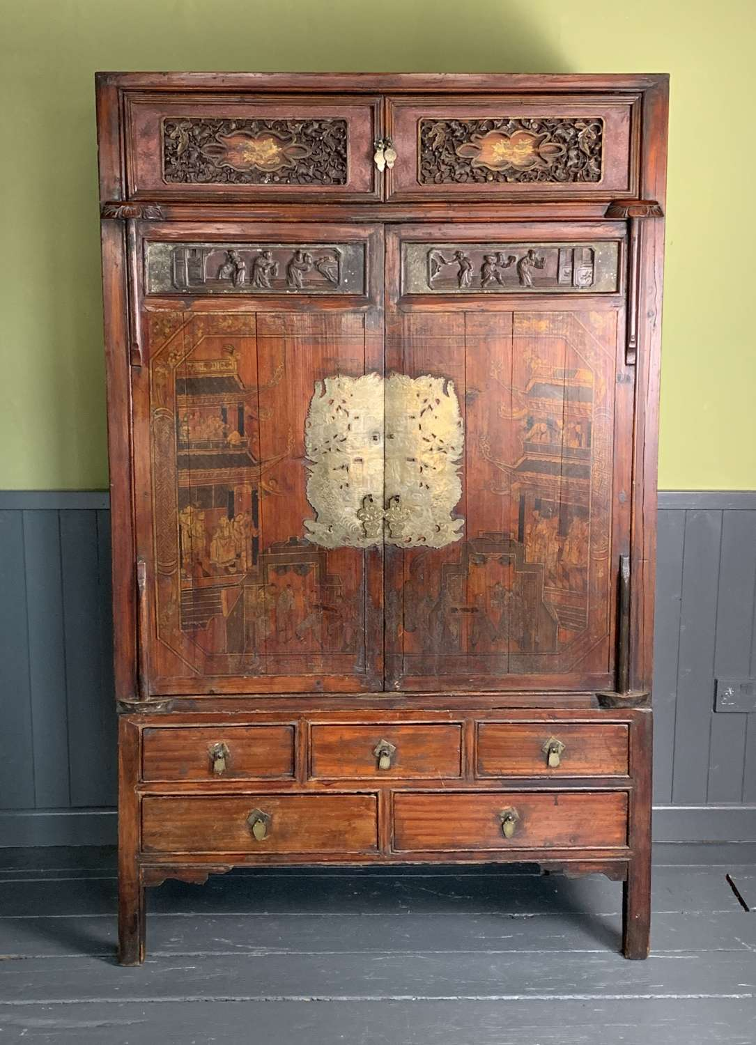 Antique Chinese Painted Lacquer Wedding Cabinet