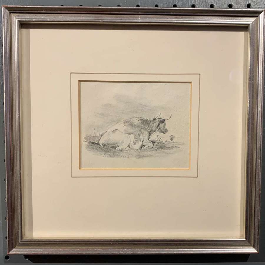 Dutch School, 19th Century, Pencil Drawing of a Recumbent Cow