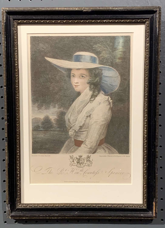 Bartolozzi Engraving of Georgiana Countess Spencer after Reynolds