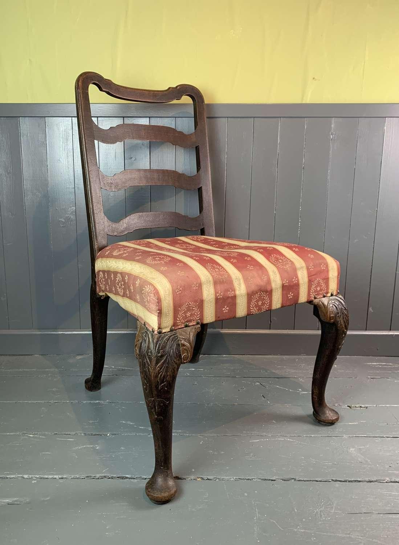 George II Walnut Ladder Back Side Chair