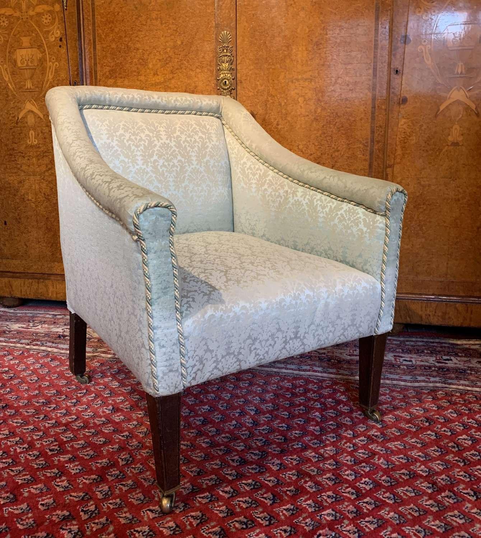 Edwardian Damask Upholstered Armchair