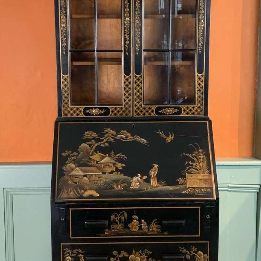 Chinoiserie Decorated Black Japanned Bureau Bookcase / Cabinet