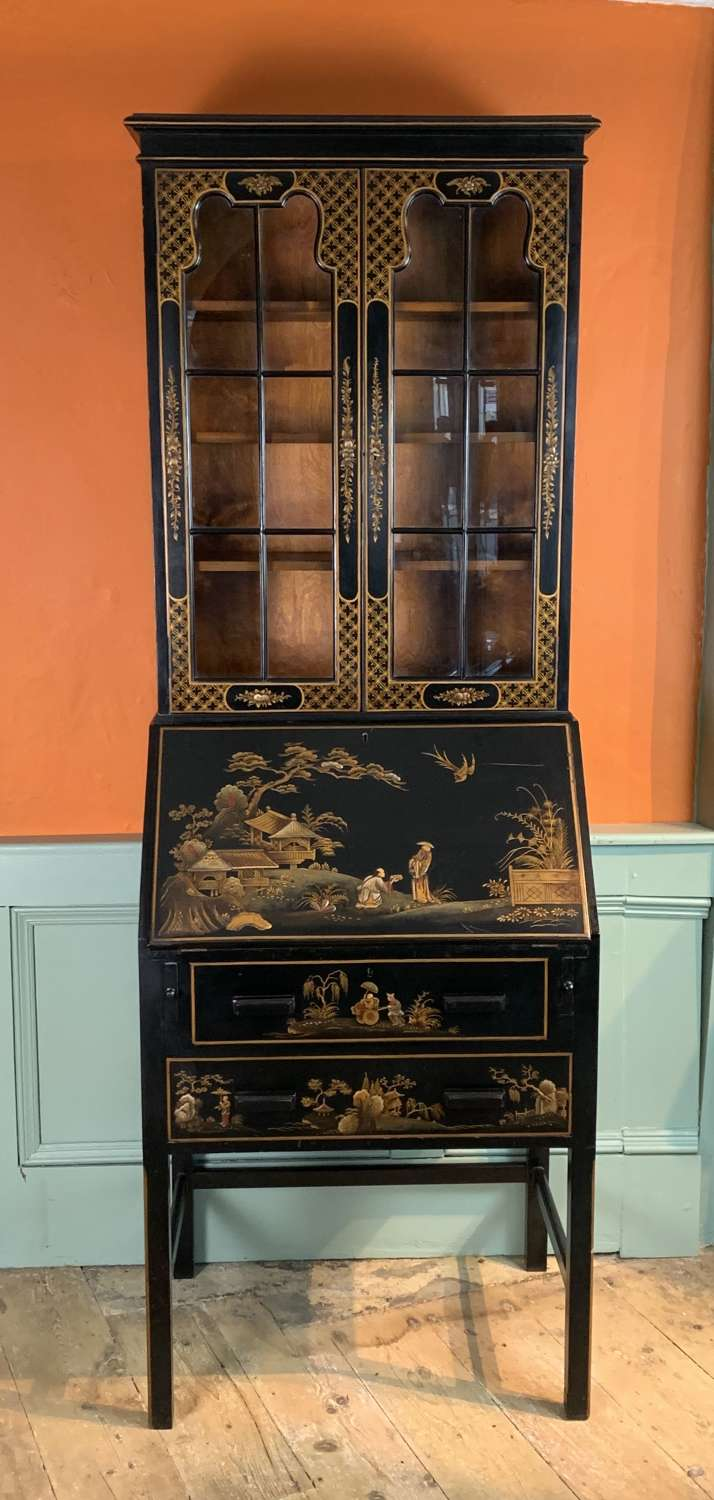 Chinoiserie Decorated Black Japanned Bureau Bookcase / Cabinet