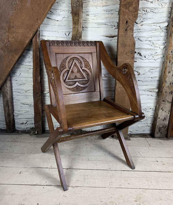 Antique Carved Oak Glastonbury Chair