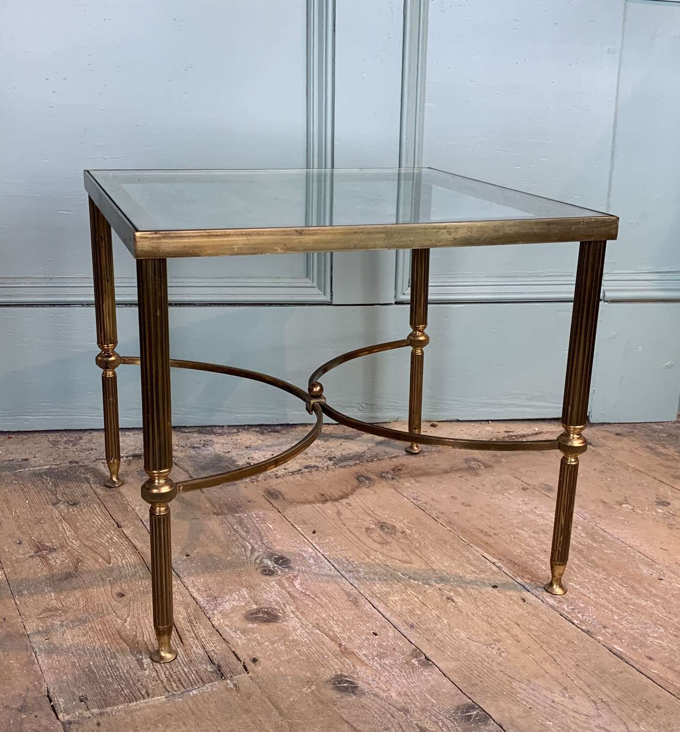1970's French Brass & Glass Occasional Table