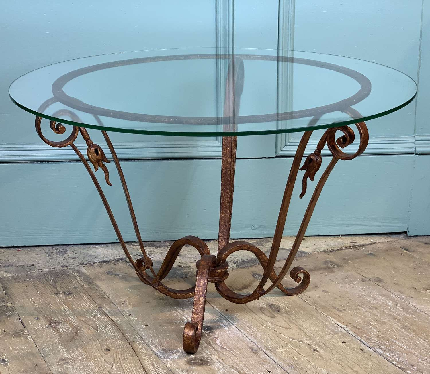 French 1940's Gilt Wrought Iron Occasional Table