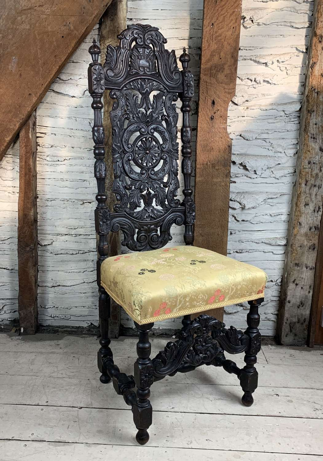 19th Century Carved Oak Side Chair in Carolean Style