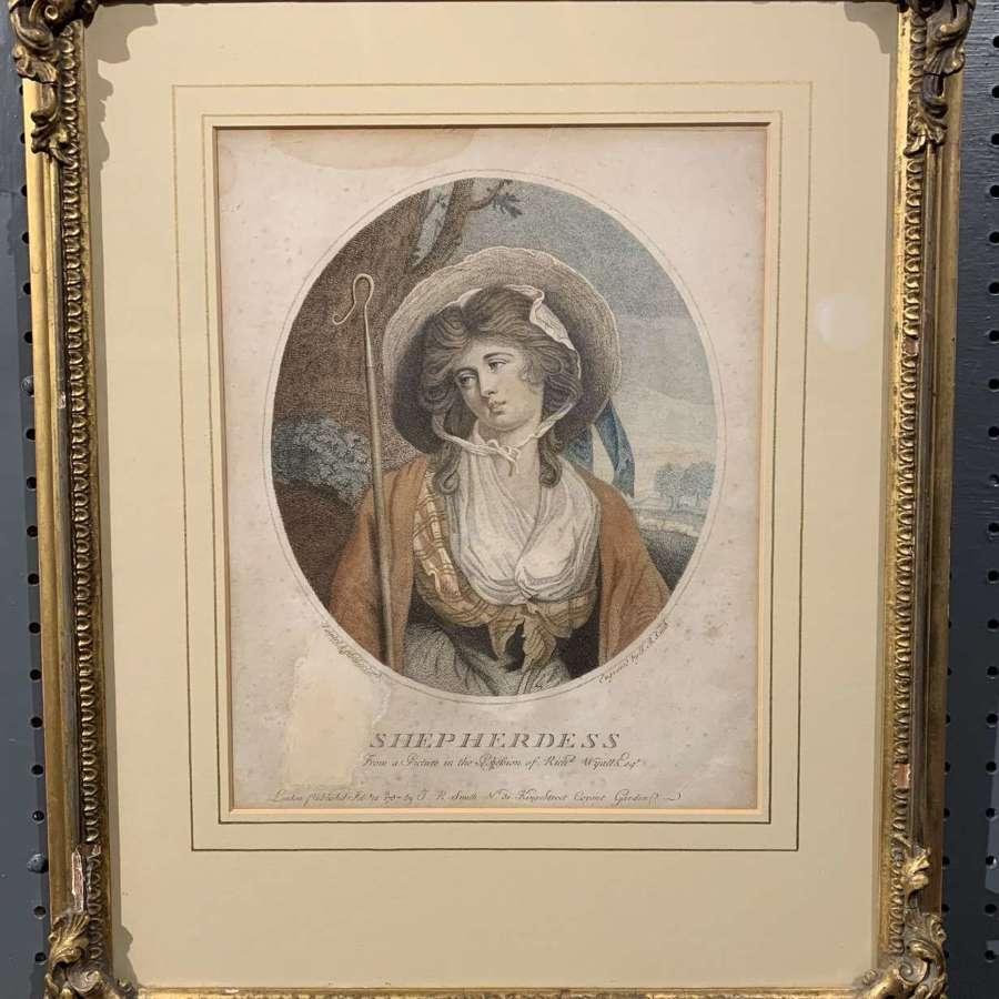 After S. Woodforde, 'Shepherdess' Stipple Engraving, 1787
