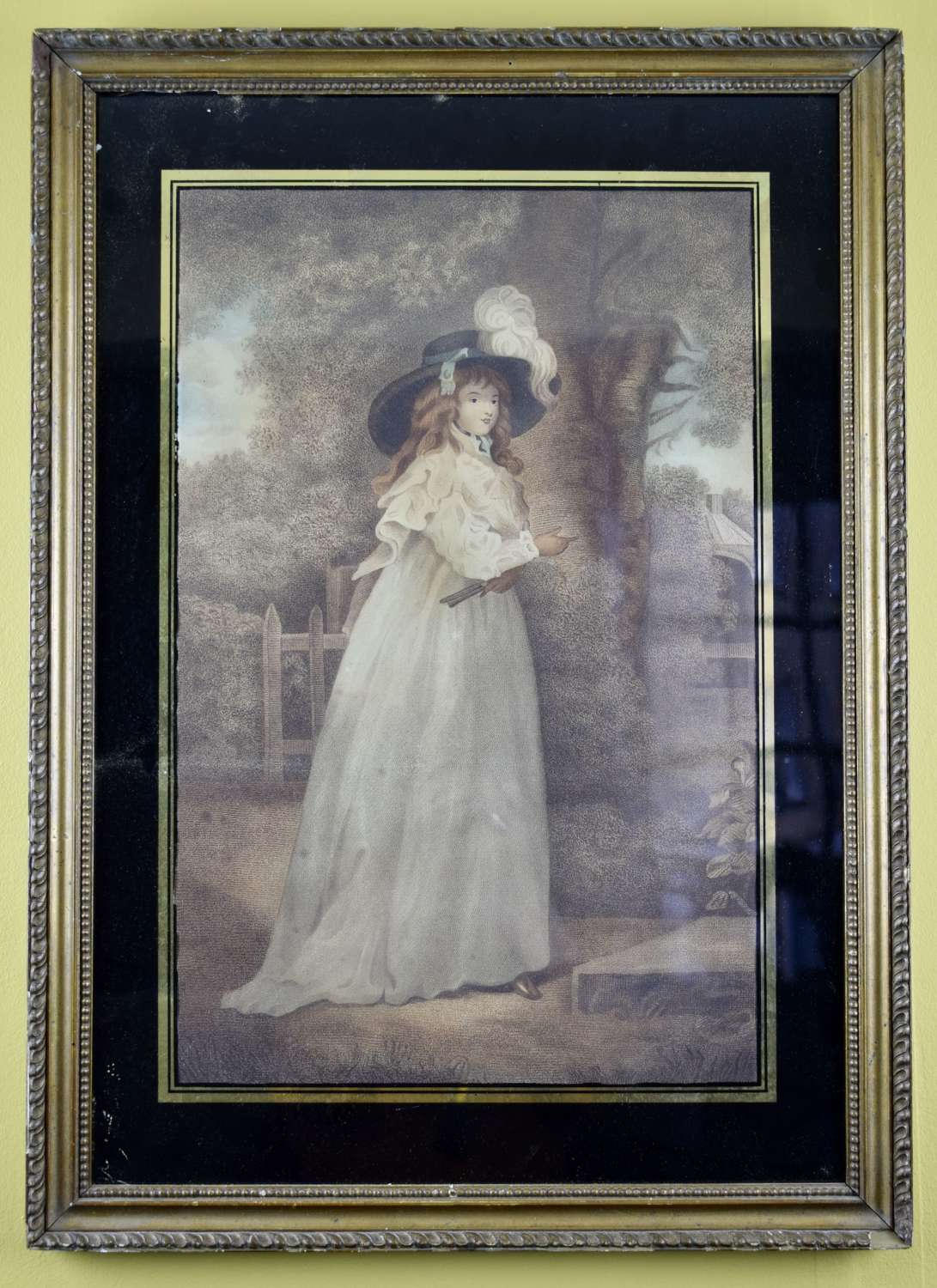 Regency Stipple Engraving of a Girl in a Picture Hat After Reynolds