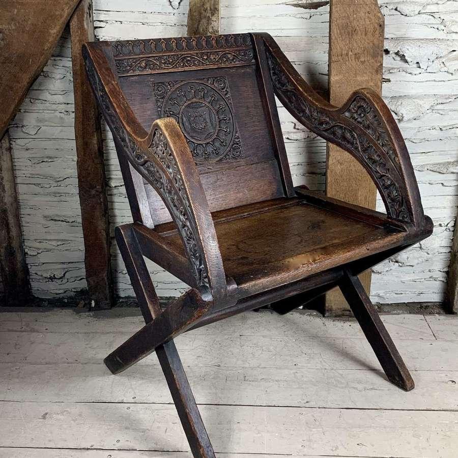 Victorian Carved Oak Glastonbury Chair
