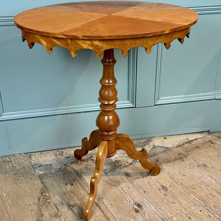 Antique Swedish Satin Birch Oval Occasional Table