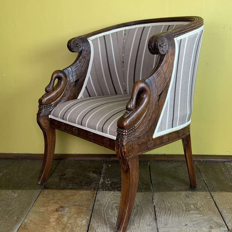 French Empire Revival Swan Neck Armchair
