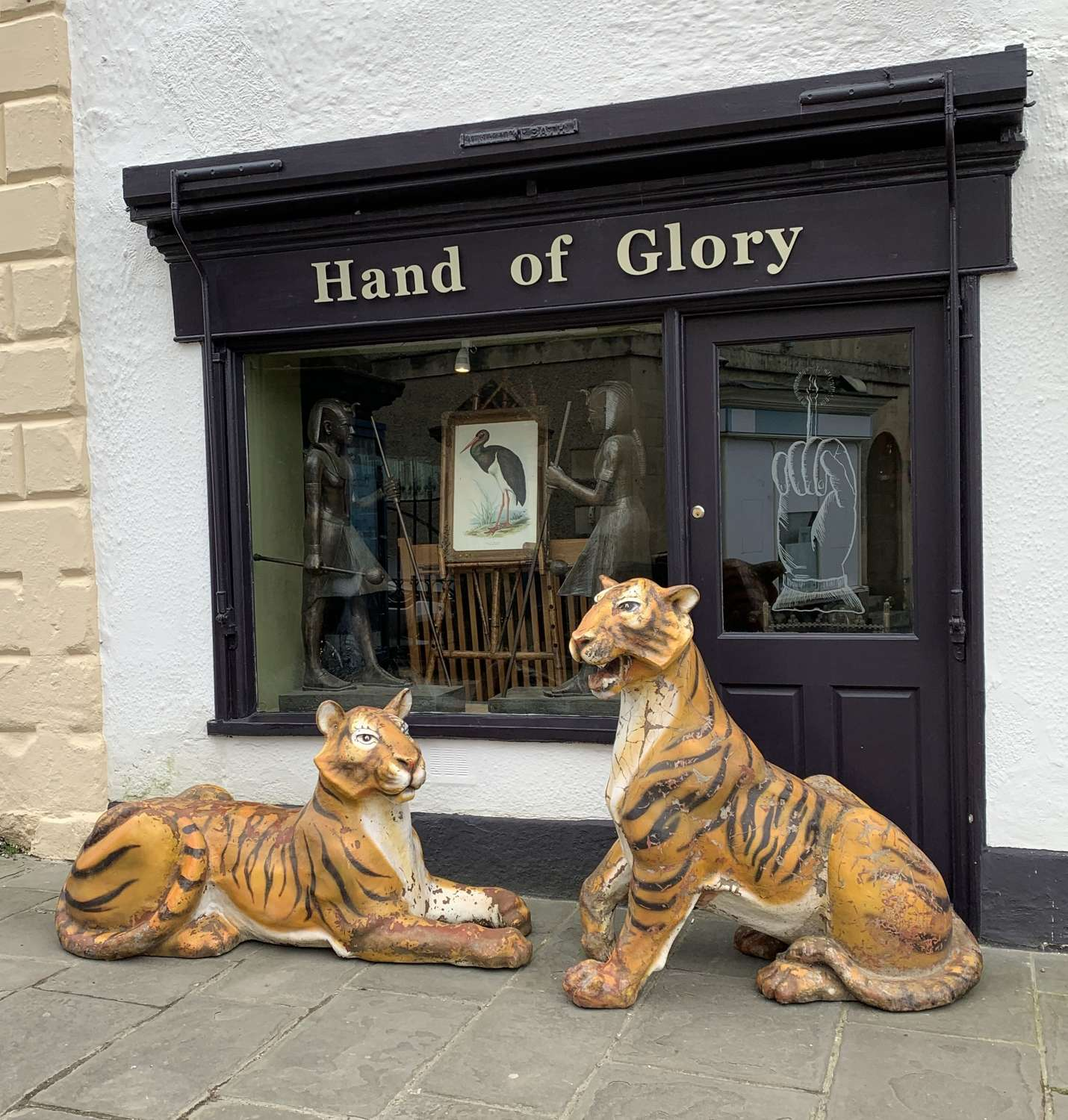 A Pair of Life Size Painted Fibreglass Tigers