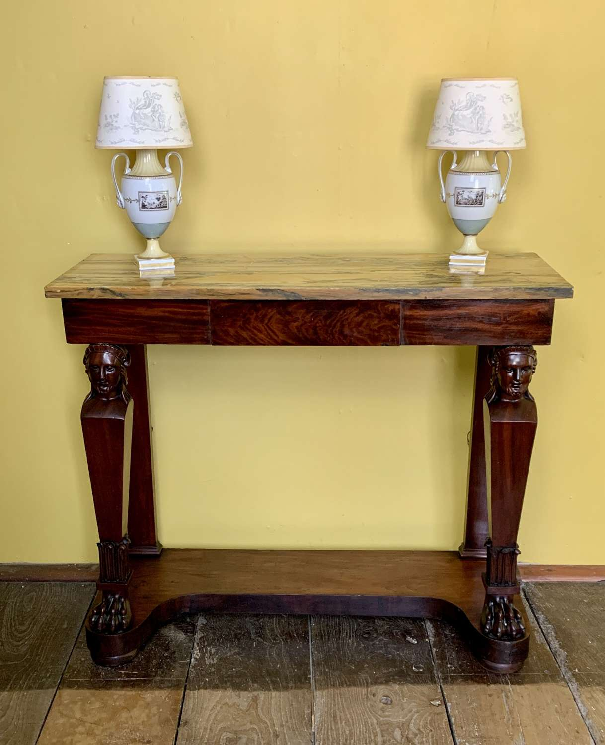 French Second Empire Mahogany Marble Top Console Table