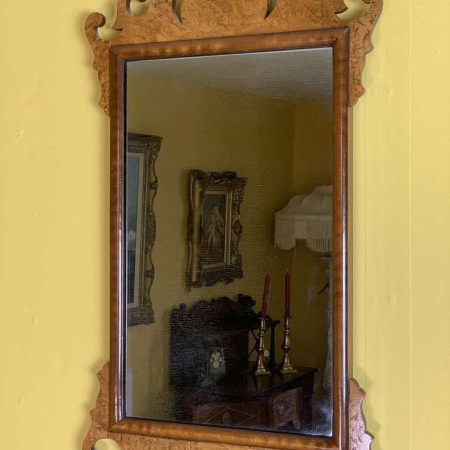 Georgian Style Burr Walnut Wall Mirror circa 1920