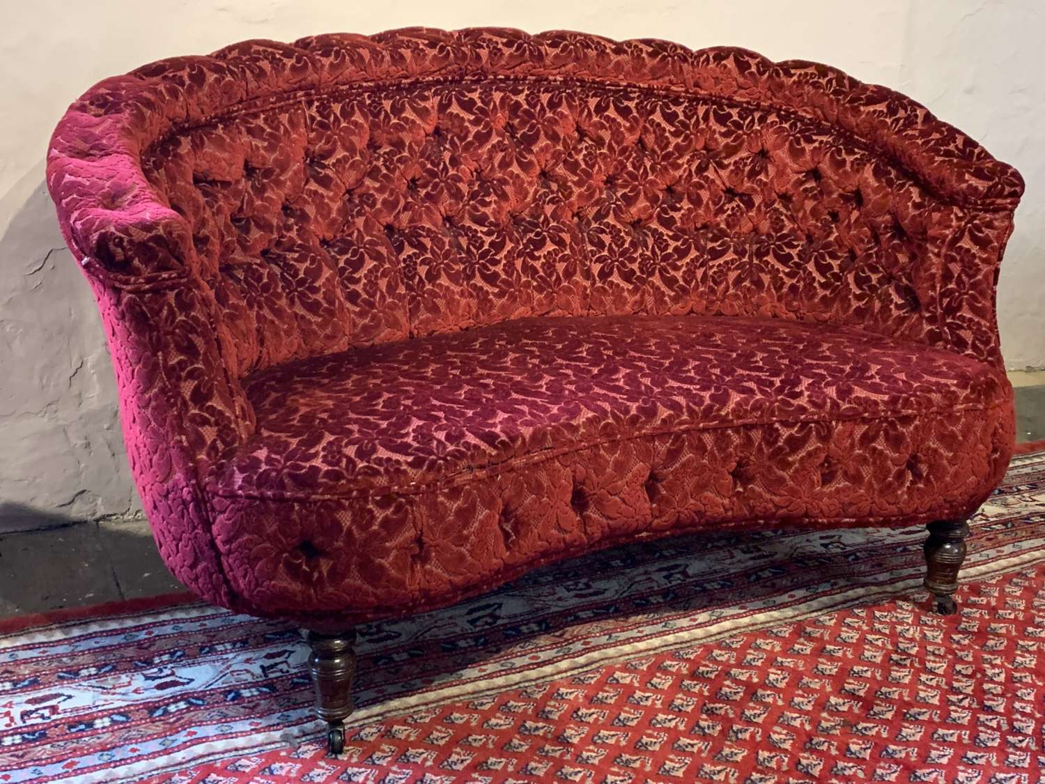 Victorian Button Back Kidney Shaped Two Seat Sofa