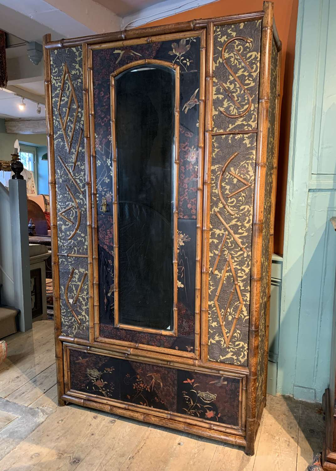 Aesthetic Movement Bamboo & Lacquer Wardrobe